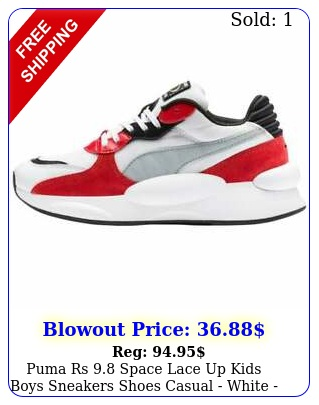 puma rs space lace up  kids boys sneakers shoes casual  white siz