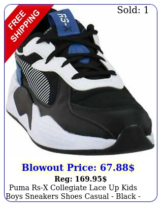 puma rsx collegiate lace up  kids boys sneakers shoes casual  blac