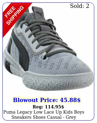 puma legacy low lace up  kids boys sneakers shoes casual  gre
