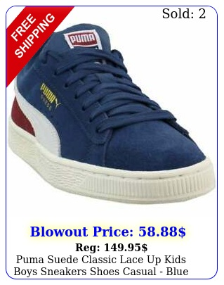 puma suede classic lace up  kids boys sneakers shoes casual  blu