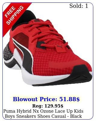 puma hybrid nx ozone lace up  kids boys sneakers shoes casual  blac