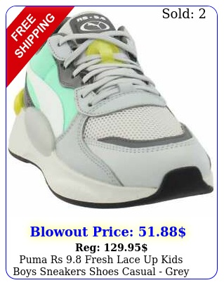 puma rs fresh lace up  kids boys sneakers shoes casual  gre