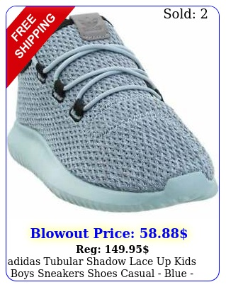 adidas tubular shadow lace up  kids boys sneakers shoes casual  blu