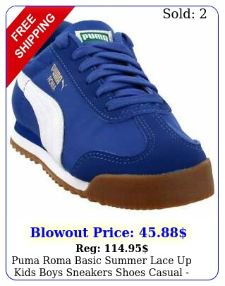 puma roma basic summer lace up  kids boys sneakers shoes casual  blu
