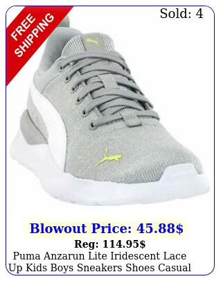 puma anzarun lite iridescent lace up  kids boys sneakers shoes casual