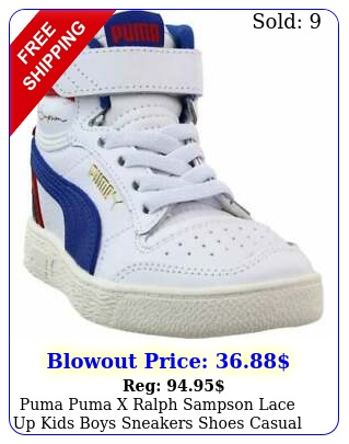 puma puma x ralph sampson lace up  kids boys sneakers shoes casual  whit