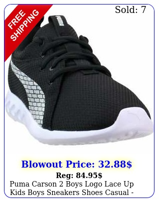 puma carson boys logo lace up  kids boys sneakers shoes casual  blac