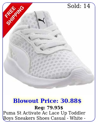 puma st activate ac lace up  toddler boys sneakers shoes casual  whit