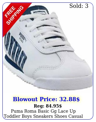 puma roma basic gg lace up  toddler boys sneakers shoes casual  whit