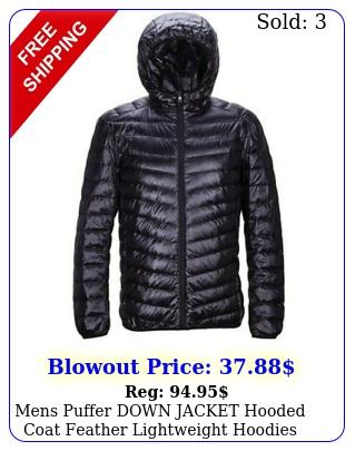 mens puffer down jacket hooded coat feather lightweight hoodies outwear blac