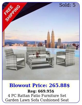 pc rattan patio furniture set garden lawn sofa cushioned seat wicker sof