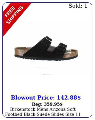 birkenstock mens arizona soft footbed black suede slides size
