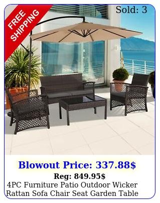 pc furniture patio outdoor wicker rattan sofa chair seat garden table cushio