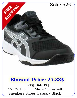asics upcourt mens volleyball sneakers shoes casual  blac