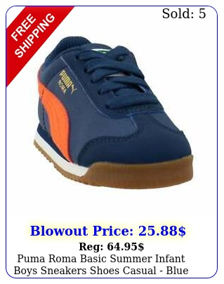 puma roma basic summer infant boys sneakers shoes casual  blu