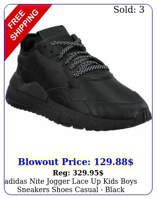adidas nite jogger lace up kids boys sneakers shoes casual  blac