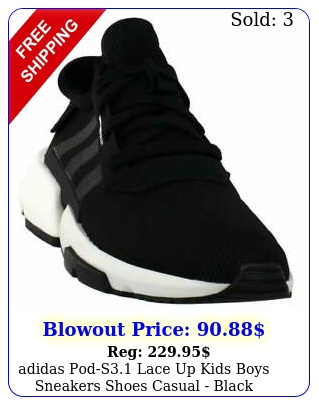 adidas pods lace up  kids boys sneakers shoes casual  blac