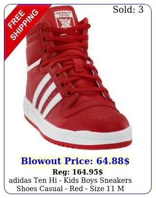 adidas ten hi  kids boys sneakers shoes casual  red size