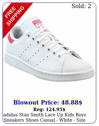 adidas stan smith lace up kids boys sneakers shoes casual  white siz