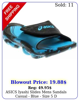 asics iyashi slides mens sandals casual  blue size