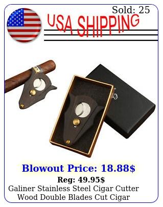 galiner stainless steel cigar cutter wood double blades cut cigar scissors gif