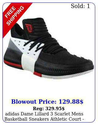 adidas dame lillard scarlet  mens basketball sneakers athletic court  blac