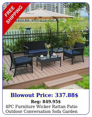 pc furniture wicker rattan patio outdoor conversation sofa garden cushion tabl