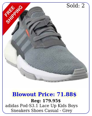 adidas pods lace up  kids boys sneakers shoes casual  gre