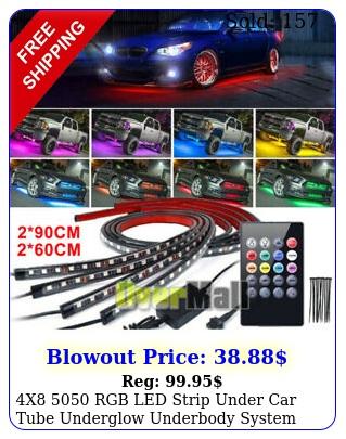 x rgb led strip under car tube underglow underbody system neon light ki