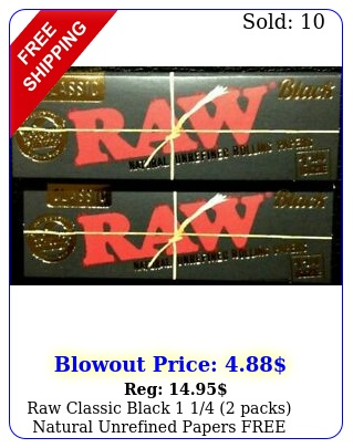 raw classic black  packs natural unrefined papers free shippin