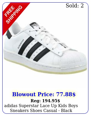 adidas superstar lace up  kids boys sneakers shoes casual  blac