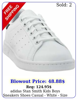 adidas stan smith kids boys sneakers shoes casual  white size