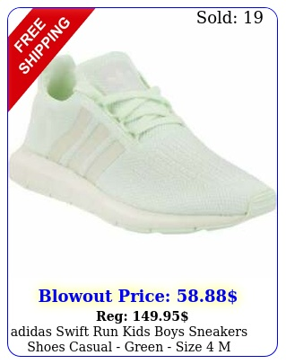 adidas swift run  kids boys sneakers shoes casual  green size