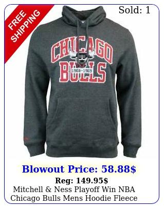 mitchell ness playoff win nba chicago bulls mens hoodie fleece lined blac