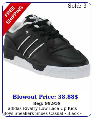 adidas rivalry low lace up  kids boys sneakers shoes casual  black siz