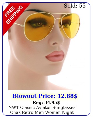 nwt classic aviator sunglasses chaz retro men women night driving yellow len