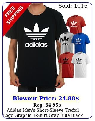 adidas men's shortsleeve trefoil logo graphic tshirt gray blue black red whit