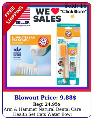 arm hammer natural dental care health set cats water bowl toothpaste brus