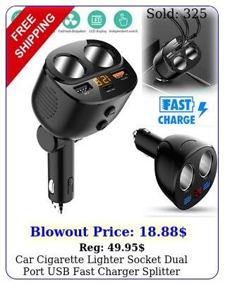 car cigarette lighter socket dual port usb fast charger splitter outlet adapte