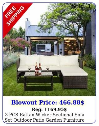 pcs rattan wicker sectional sofa set outdoor patio garden furniture w tabl