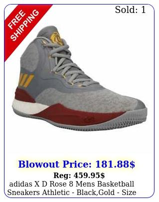 adidas x d rose  mens basketball sneakers athletic  blackgold siz