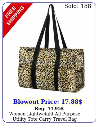 women lightweight all purpose utility tote carry travel bag leopard prin