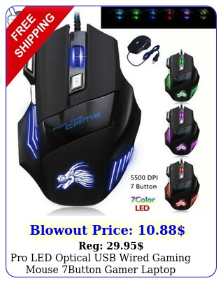 pro led optical usb wired gaming mouse button gamer laptop computer micedp
