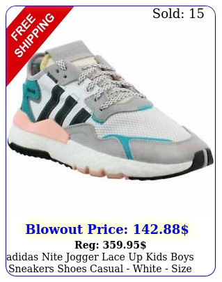 adidas nite jogger lace up  kids boys sneakers shoes casual  white siz