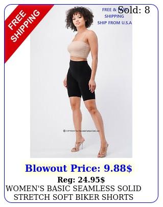 women's basic seamless solid stretch soft biker shorts yoga gym one size leggin