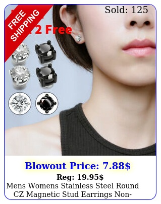 mens womens stainless steel round cz magnetic stud earrings nonpiercing clip o