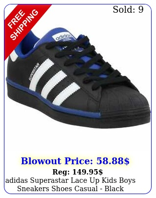 adidas superastar lace up kids boys sneakers shoes casual  blac