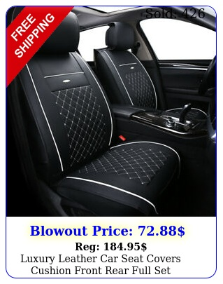 luxury leather car seat covers cushion front rear full set universal adjustabl