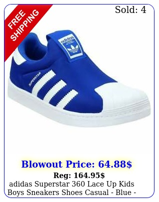 adidas superstar lace up  kids boys sneakers shoes casual  blue siz
