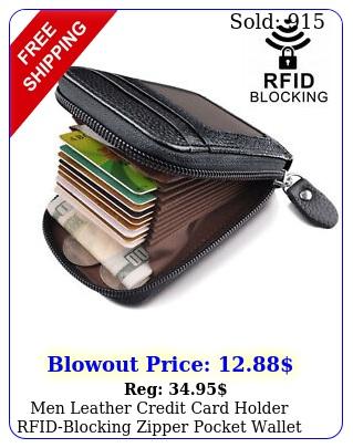 men leather credit card holder rfidblocking zipper pocket wallet with id windo